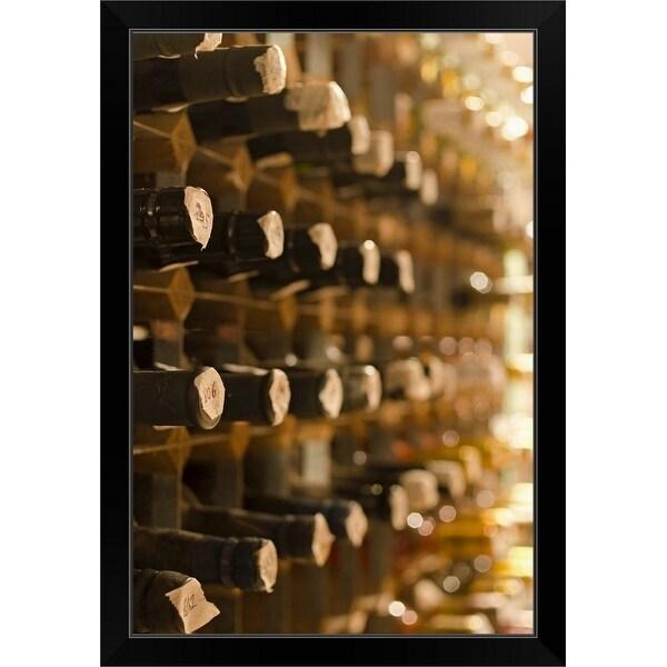 """""""United Kingdom, Bristol, old wine bottles on cellar shelves"""" Black Framed Print"""