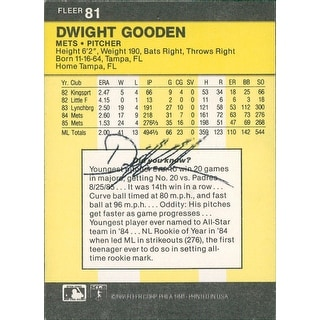 Signed Gooden Dwight New York Mets 1986 Fleer Baseball Card on the back autographed