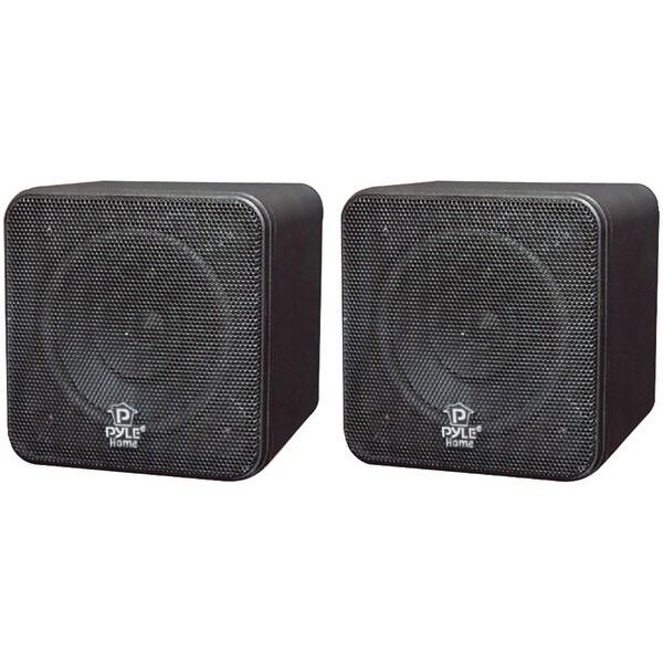 """PYLE HOME PCB4BK 4"""" 200-Watt Mini-Cube Bookshelf Speakers (Black)"""
