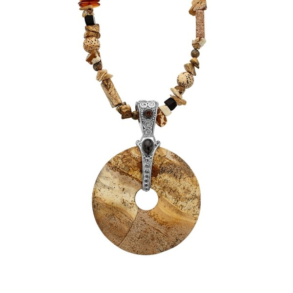 Sajen Jasper Necklace with Onyx & Smoky Quartz in Sterling Silver - Brown