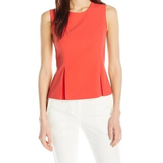 Nine West NEW Orange Women's Size 8 Pleated Crepe Tank Cami Top