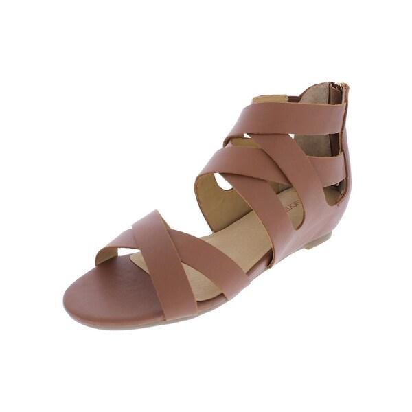 Adam Tucker Womens Alea Gladiator Sandals Criss Cross Open Toe - 6.5 medium (b,m)