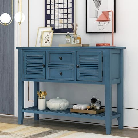 Retro Console Table Sideboard with Shutter doors and Two Storage Drawers