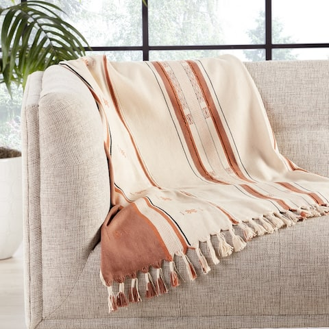 Prasuna Hand-Loomed Tribal Cream/ Tan Throw