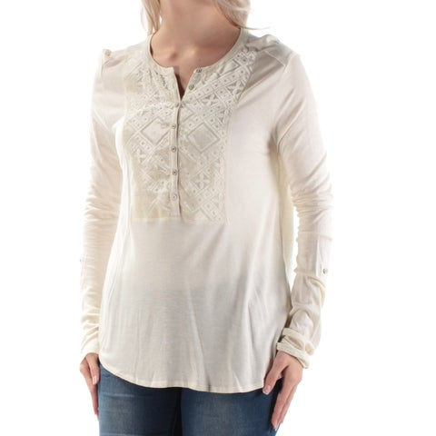 LUCKY BRAND Womens Ivory Velvet Long Sleeve Jewel Neck Top Size: L