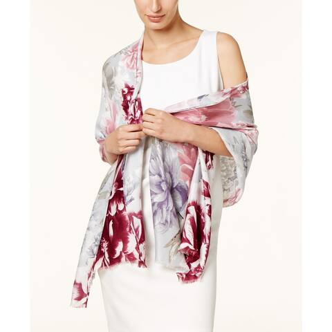 INC International Concepts Women's Painted Dusk Floral Wrap & Scarf In One Pink Size Regular