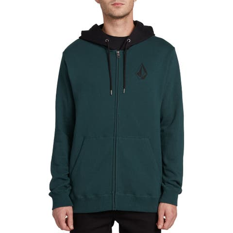 Volcom Mens Sweater Black Green Size Large L Hooded Colorblock Zip