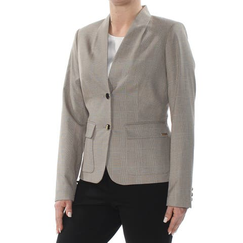 CALVIN KLEIN Womens Beige Two Button Blazer Jacket Petites Size: 6
