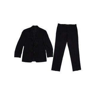 Calvin Klein Men's Black Solid Slim-Fit Suit (38S 32W, Black) - 38s 32w