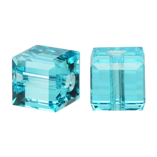 Swarovski Elements Crystal, 5601 Cube Beads 4mm, 10 Pieces, Light Turquoise