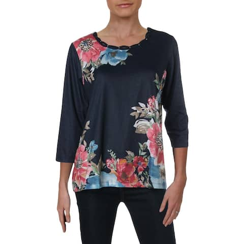 Alfred Dunner Womens Pullover Top Floral Print Studded - S