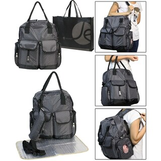 3 Piece Set Diaper Bag, Bottle Zipper Pouch, Changing Mat and Bonus Reusable Tote Bag