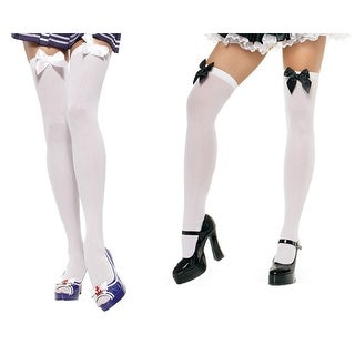 Sexy Plus Size Nylon Thigh Highs with Bows Adults (Option: Black)