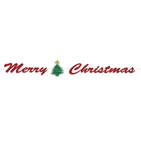 "Pack of 12 Red ""Merry Christmas"" Glittery Foil Streamer Banner with Christmas Tree 6'"