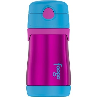 Thermos Foogo Vacuum Insulated Stainless Steel Straw Bottle (10oz/ Purple/Blue)
