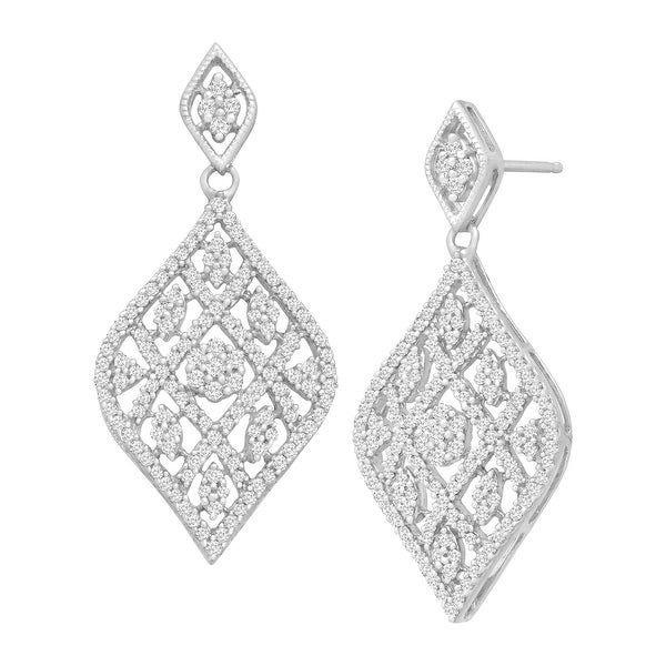 1 ct Diamond Argyle Drop Earrings in 14K While Gold