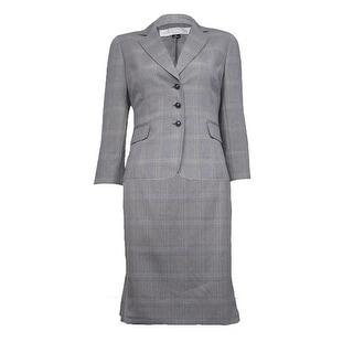 Tahari Women's Plaid Print Notch Lapel Pleated Skirt Suit