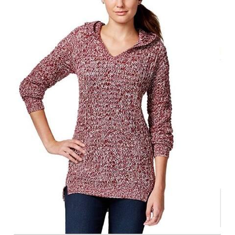 Ultra Flirt Women's Juniors' Marled Hoodie Tunic Sweater,Small - Small