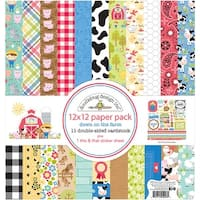 "Doodlebug Double-Sided Paper Pack 12""X12"" 12/Pkg-Down On The Farm"