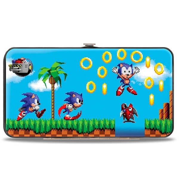 Sonic Classic Sonic Pixelated Run Game Over Fall Scene Hinged Wallet - One Size Fits most