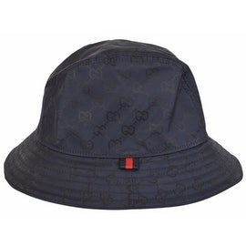 Gucci Men's 387558 BLUE GG Guccissima Nylon Bucket Rain Hat Medium 58 CM