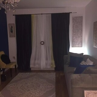 Exclusive Fabrics Azul Faux Silk Taffeta Pole Top Curtain Panel