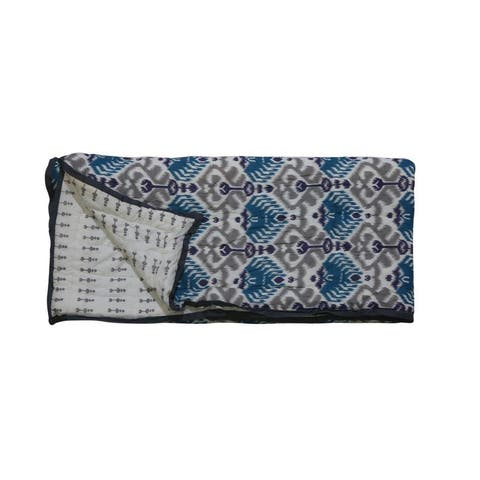 Timbergirl cotton grey hand printed tribal quilt with 2 shams