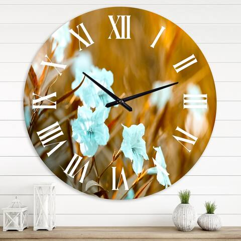 Designart 'White Popping Pod BuSh in AUtumn Garden' Traditional wall clock