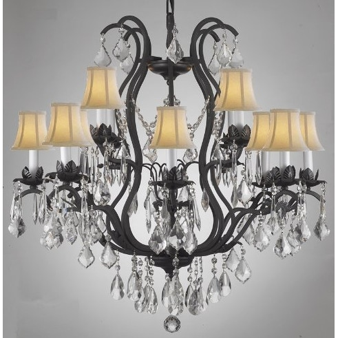 Swarovski Crystal Trimmed Wrought Iron Crystal Chandelier Lighting With White Shades