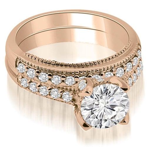1.00 cttw. 14K Rose Gold Cathedral Milgrain Round Cut Diamond Bridal Set