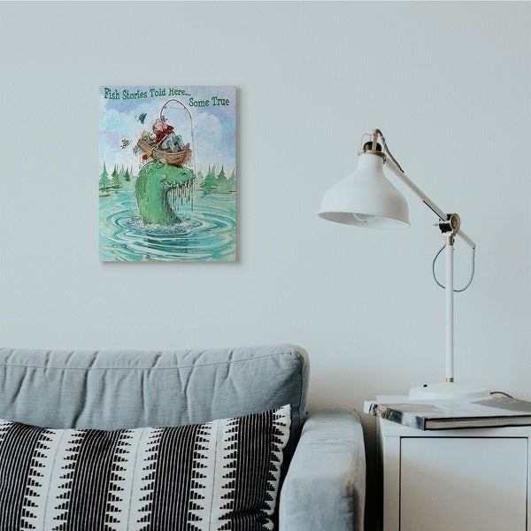 Stupell Industries Stories Told Here Funny Sports Fishing Cartoon Design Canvas Wall Art. Opens flyout.