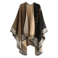 QZUnique Women's Sweater Shawl Cardigan Cloak V Neck Loose PonchoCape