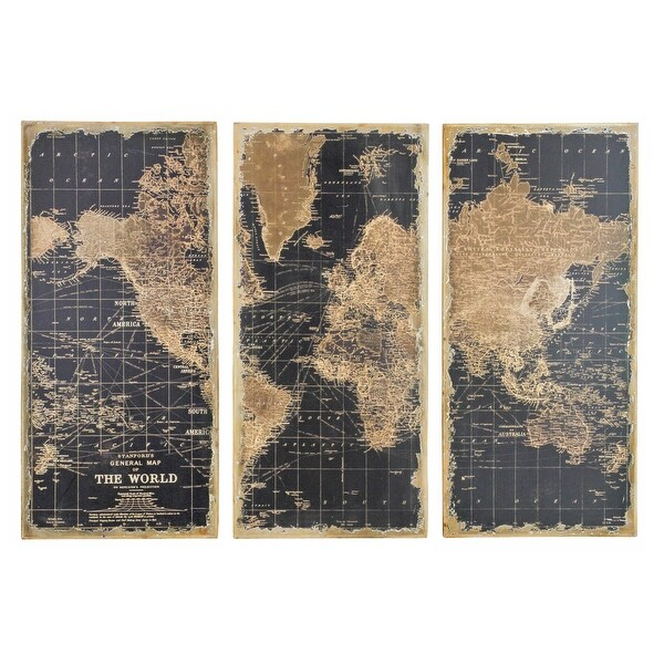 Aspire Home Accents 1434 Stanford World Map Wall Decor (Set Of 3)   Black