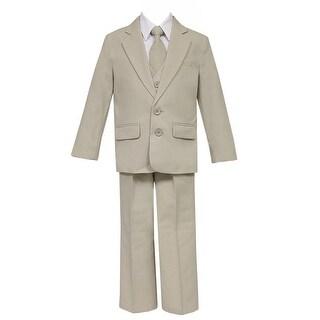 Big Boys Khaki 5 Pcs Shirt Vest Jacket Tie Pants Suit