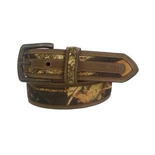 John Deere Western Belt Mens 38MM Antique Brass Brown Camo 4518500