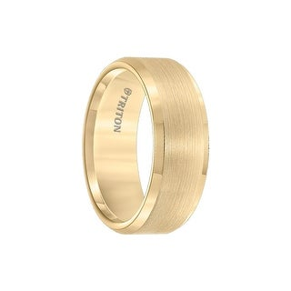 OPHIR Polished Bevel Edged Yellow Gold Plated Tungsten Carbide Ring with Satin Finished Center by Triton Rings - 8mm