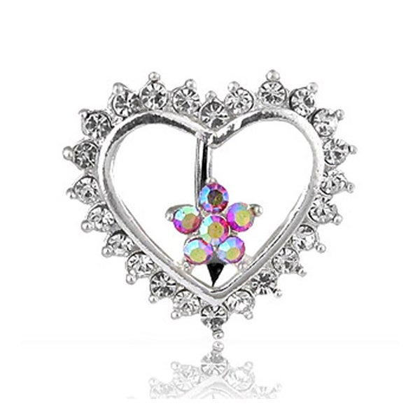 "Navel Belly Button Ring with Top-Down CZ Heart and Flower - 14GA 3/8"" Long"
