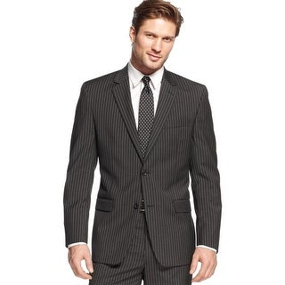Shaquille O'Neal Big and Tall Charcoal Pinstripe Wool Sportcoat 52 Long 52L