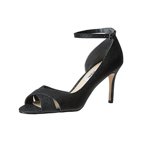 Nina Womens Flo Evening Heels Shimmer Open Toe - 8.5 medium (b,m)