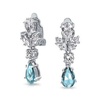 Bling Jewelry Light Blue CZ Rhodium Plated Brass Clip On Earrings