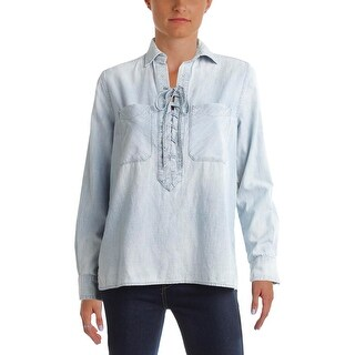 Denim & Supply Ralph Lauren Womens Casual Top Faded Lace Up - s