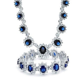 Bling Jewelry Crown Set Blue CZ Wedding Set Rhodium Plated