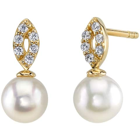 14K Yellow Gold Freshwater Pearl Bow Design Stud Earrings