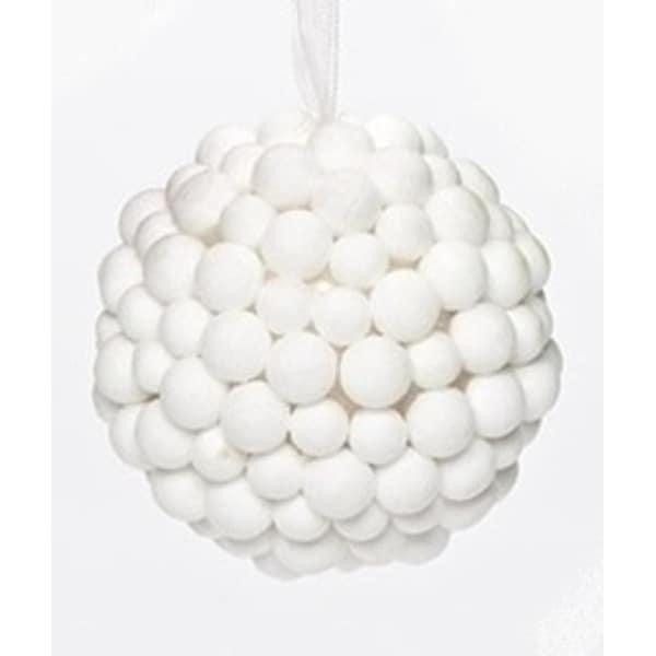 """White Flocked Berry Ball Cluster Modern Christmas Ornament 3.25"""""""