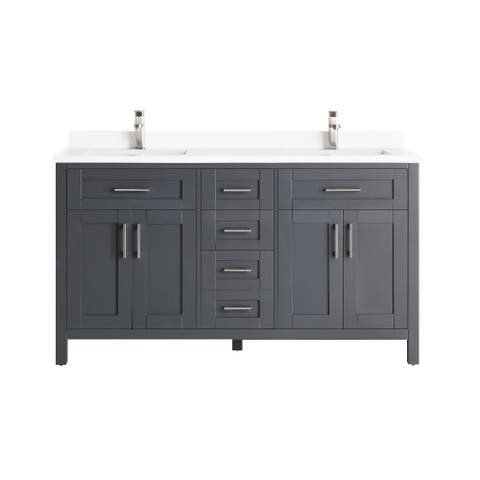 OVE Decors Tahoe-Lux 60 in. Vanity in Dark Charcoal with Power Bar