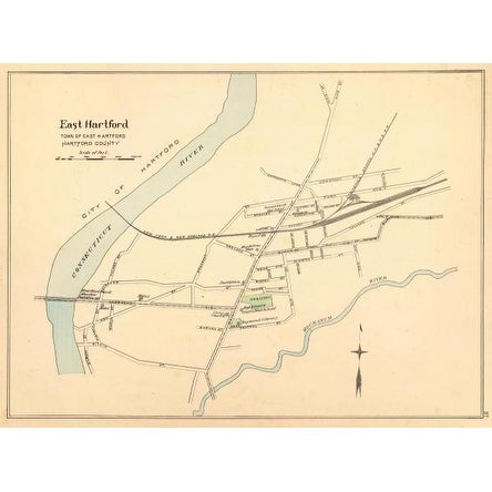 East Hartford, Connecticut, 1893 by D.H. Hurd And Co. Maps Art Print