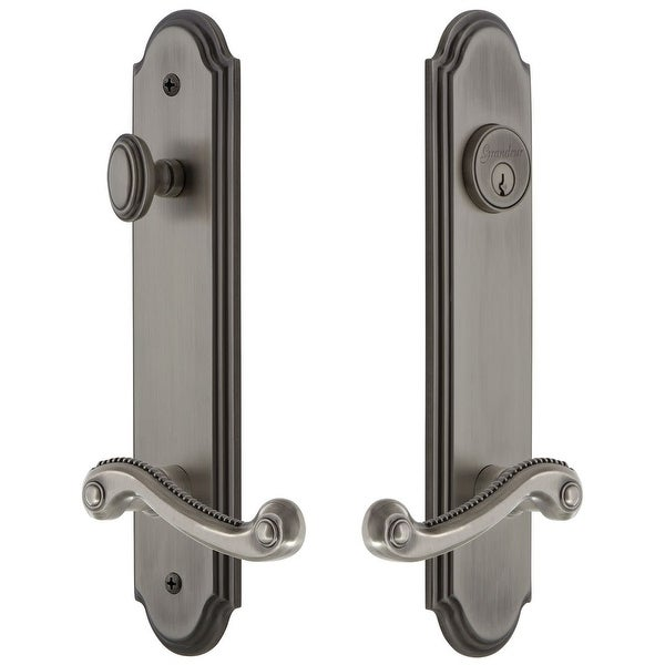 """Grandeur ARCNEW_TP_ESET_238_RH Arc Solid Brass Tall Plate Single Cylinder Keyed Entry Set with Newport Lever and 2-3/8"""" Backset"""