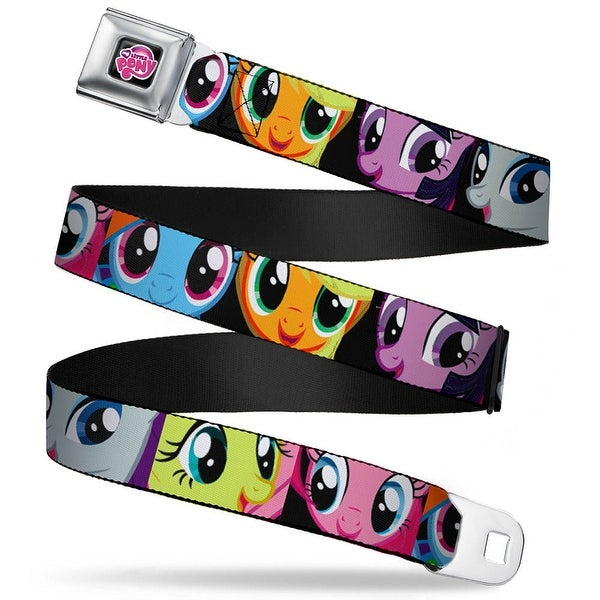 My Little Pony Logo Full Color Black Pink Pony Faces Close Up Blocks Black Seatbelt Belt