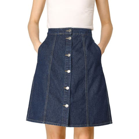 Allegra K Women's High Waist Button Front Denim Short Skirt