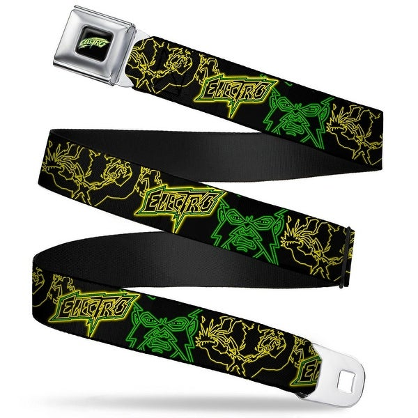 Ultimate Spiderman Electro Full Color Black Green Yellow Electric Electro Seatbelt Belt